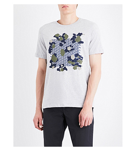 MICHAEL KORS Camo-print cotton-jersey T-shirt (Heather+grey