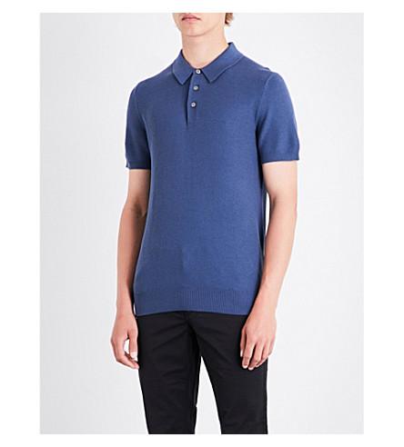 MICHAEL KORS Waffle-knit silk and cotton-blend polo shirt (Denim