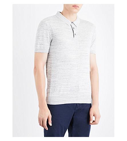 MICHAEL KORS Slim-fit cotton polo shirt (Heather+grey