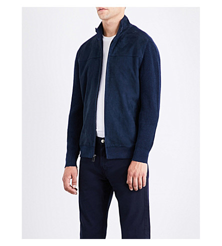 MICHAEL KORS stand-collar suede, linen and cotton jacket (Midnight