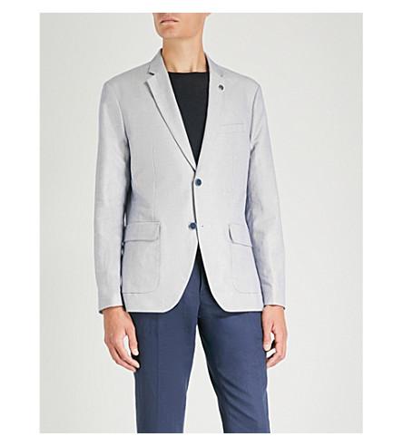 MICHAEL KORS 常规版型棉和亚麻混纺夹克 (航海 + 蓝色