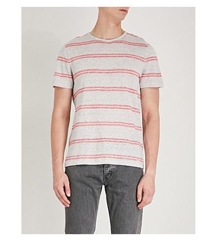 MICHAEL KORS Striped linen-blend T-shirt (Heather+grey