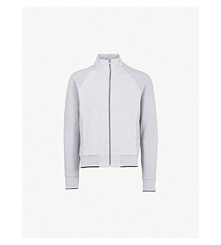 MICHAEL KORS 条纹修剪压缩棉混合卫衣 (石楠 + 灰色