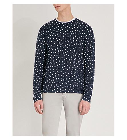 MICHAEL KORS Polka-dot cotton-knitted jumper (Midnight