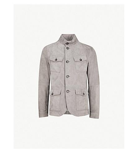 MICHAEL KORS Longline suede jacket (Slate+grey