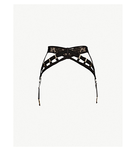 BORDELLE Amaya satin and lace suspender belt (Black