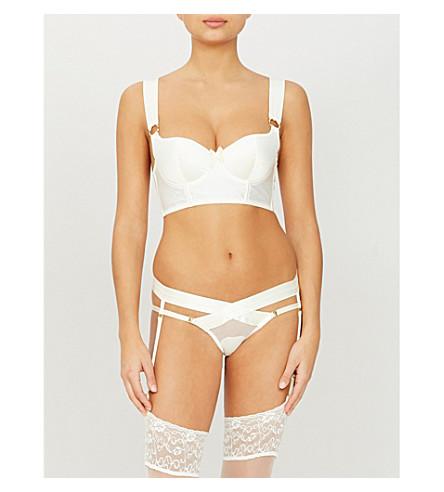 BORDELLE Longline silk-satin bra (Cream