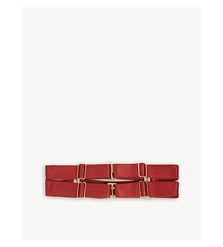 BORDELLE 24ct gold double strap choker (Red