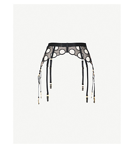 BORDELLE Bubble patterned Swiss tulle longline suspender belt (Black