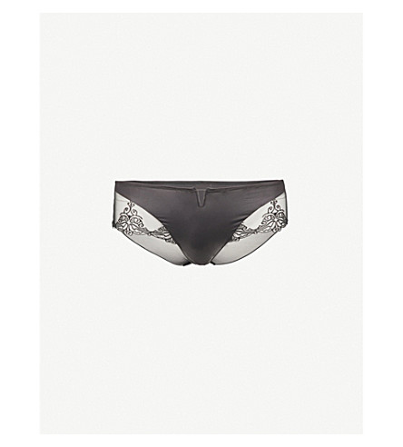 IMPLICITE Rivale satin and mesh shorty briefs (Black