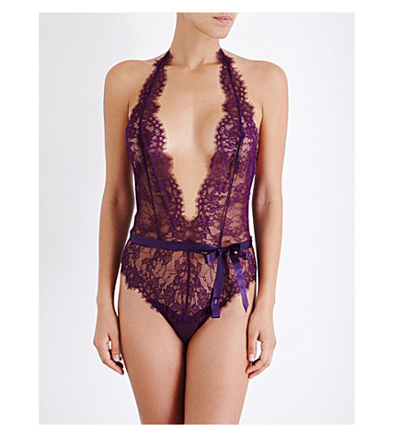 L'AGENT BY AGENT PROVOCATEUR Idalia floral-lace playsuit (Raisin