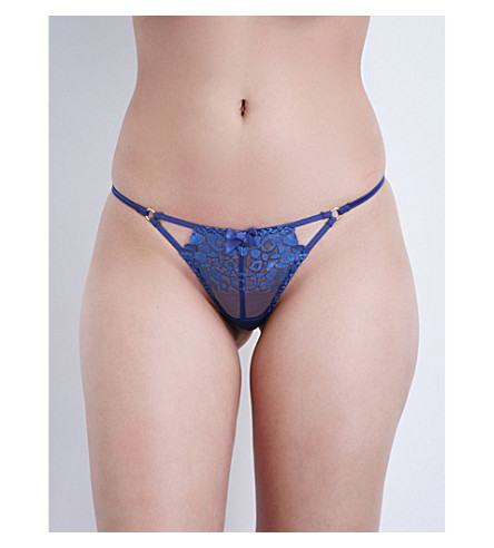 L'AGENT BY AGENT PROVOCATEUR Odessa embroidered stretch-tulle trixie thong (Royal+blue