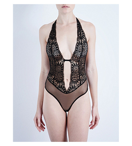 L'AGENT BY AGENT PROVOCATEUR Bright non-wired lace bodysuit (Black