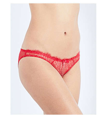 L'AGENT BY AGENT PROVOCATEUR Grace floral-lace mini briefs (Red/gold