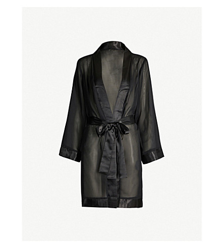 BLUEBELLA Satin-trim chiffon kimono (Black