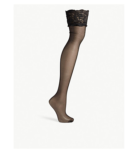 BLUEBELLA Lace top stockings (Black