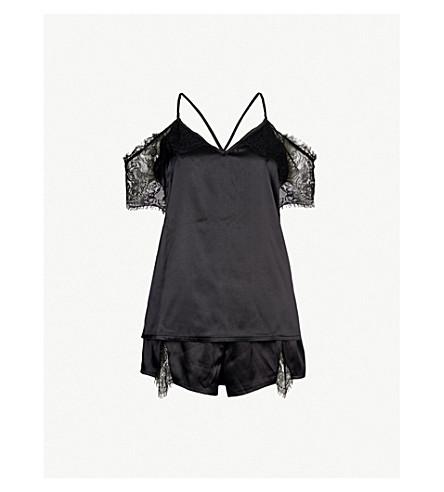 BLUEBELLA Clemzette satin and lace pyjama set (Black