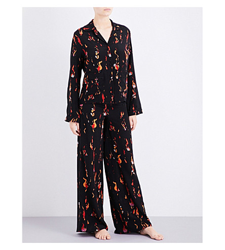 ROCKINS Flower and Flames silk-crepe pyjama set (Flower+and+flames