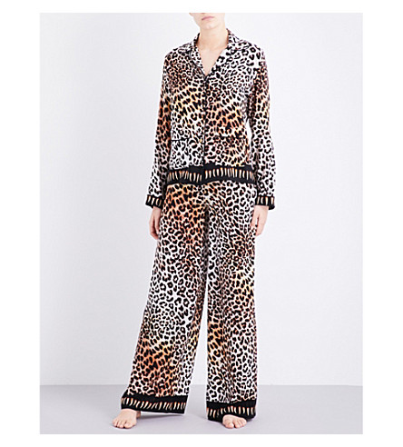 ROCKINS Leopard-print silk pyjama set (Natural++leopard