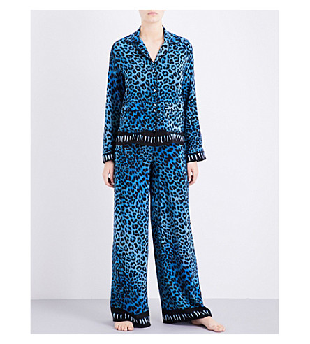 ROCKINS Leopard-print silk pyjama set (Blue+leopard