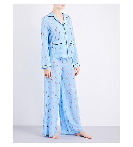 ROCKINS Monkey-print silk-crepe pyjama set (Blue+monkey+print