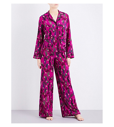 ROCKINS Monkey-print silk-crepe pyjama set (Pink+monkey+print