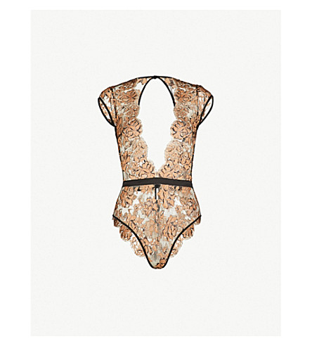 COCO DE MER Floral lace and silk-satin body (Black/gold