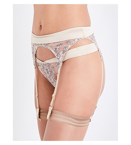 COCO DE MER Angelique silk and lace suspender belt (Mink