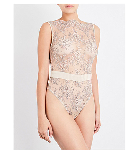 COCO DE MER Angelique lace bodysuit (Mink