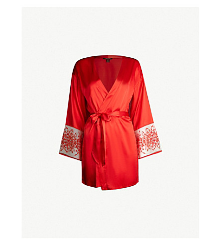 COCO DE MER Botanical Beauty silk-blend satin robe (Scarlet
