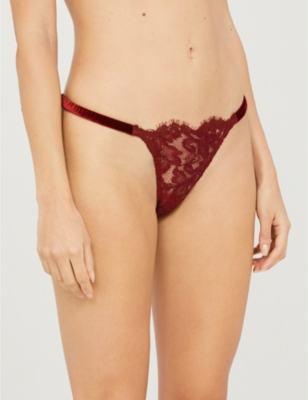 Eugenia floral-lace velvet and lace thong