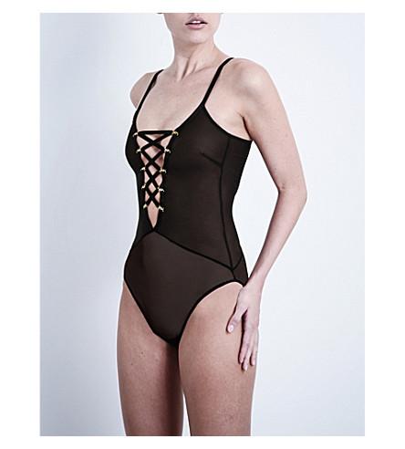 COCO DE MER Medusa mesh bodysuit (Black