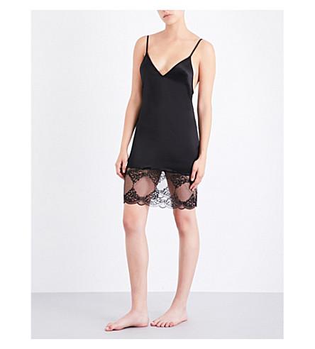 COCO DE MER Messaline stretch-silk and lace slip dress (Black