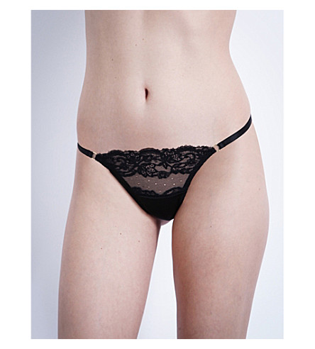 COCO DE MER Seraphine silk-satin and lace thong (Black