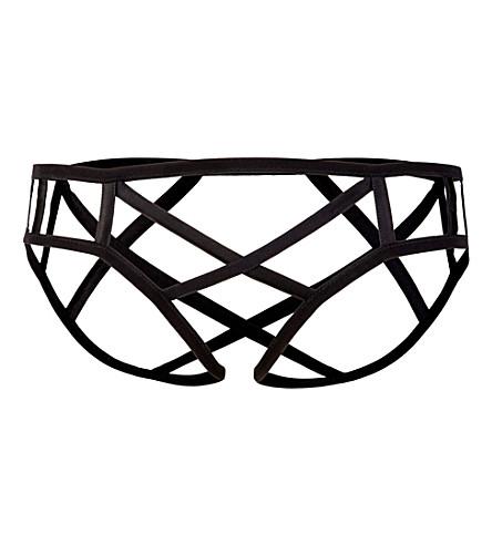 KIKI DE MONTPARNASSE Cage stretch-silk briefs (Black