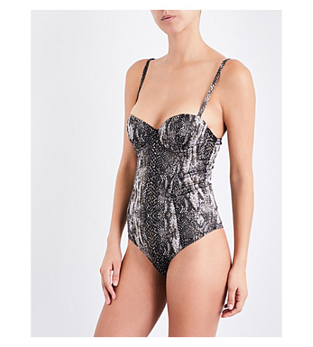 FLEUR DU MAL Balconette stretch silk-satin body (Python