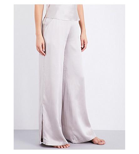 FLEUR DU MAL Wide-leg silk-charmeuse pyjama bottoms (Champagne