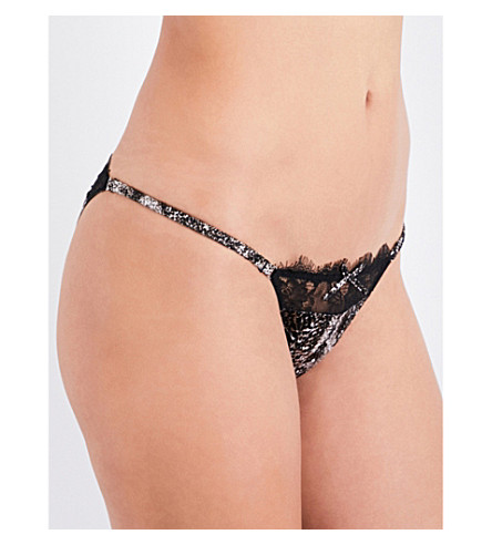 FLEUR DU MAL Margo silk-satin cheeky briefs (Python