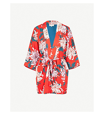 FLEUR DU MAL Haori floral-print silk-crepe kimono (Kiku+red