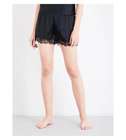 FLEUR DU MAL Margo silk-charmeuse shorts (Black