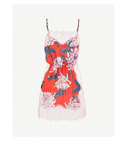 FLEUR DU MAL Rose silk-crepe and lace slip dress (Kiku+red