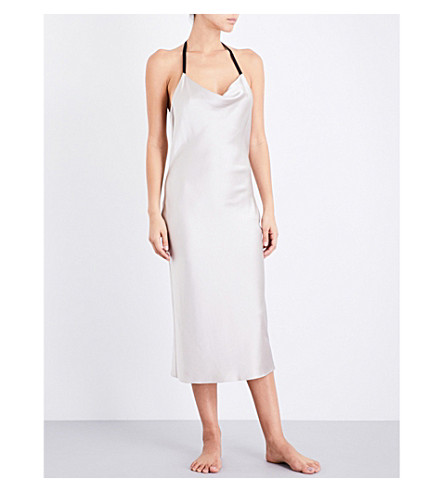 FLEUR DU MAL Cowl neck silk-charmeuse slip dress (Champagne