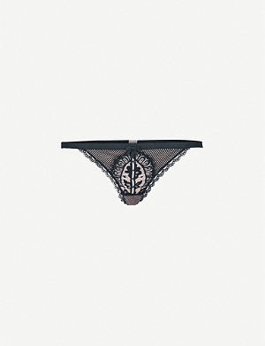 PALINDROME Majesty mesh and stretch-lace thong