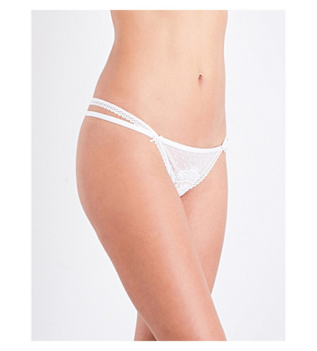 PALINDROME Surreal stretch-lace and mesh thong (Snow white