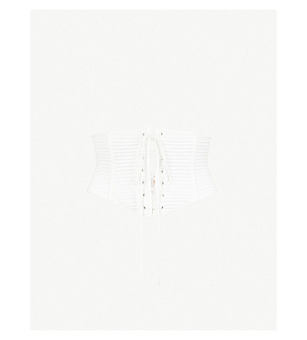 PALINDROME Chimera satin corset (Bright+white