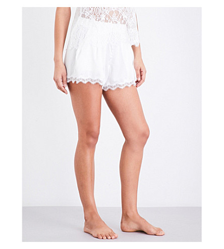 PALINDROME Starling lace and satin shorts (Snow+white