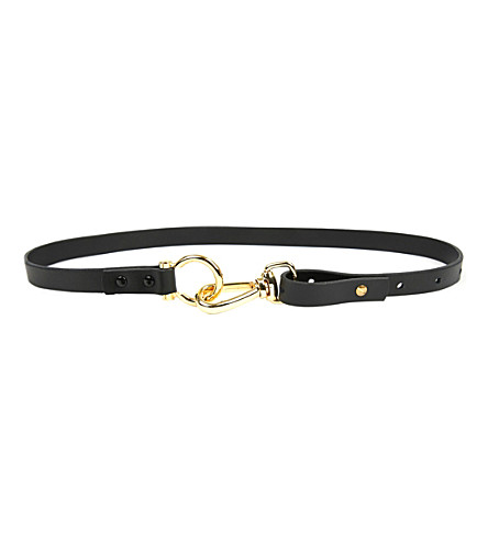 E.L.F. ZHOU LONDON D-ring leather belt (Black