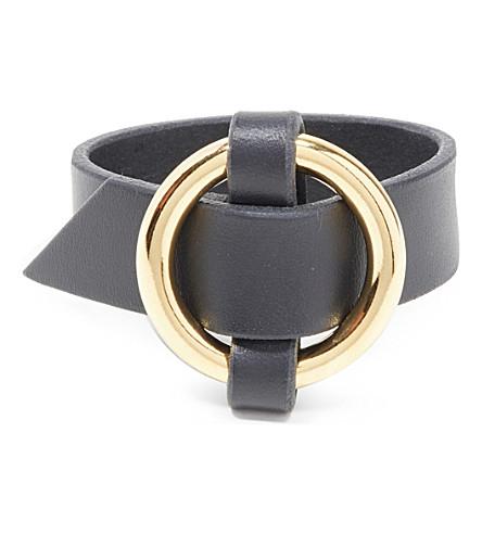 E.L.F. ZHOU LONDON Woven O-ring leather cuff (Black