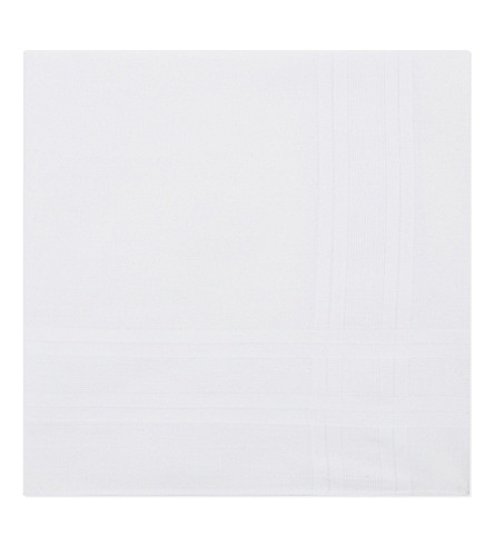 GIEVES & HAWKES Solid cotton handkerchief pack of three (White