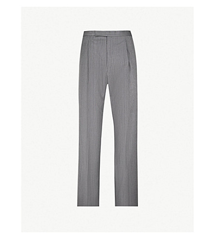 GIEVES & HAWKES Tailored-fit straight wool trousers (Grey
